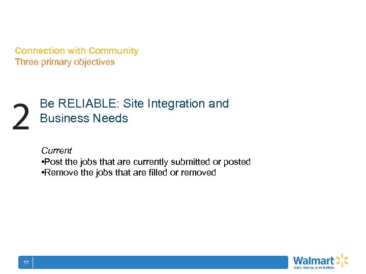 Connection with Community Three primary objectives Be RELIABLE: Site Integration and Business Needs Current