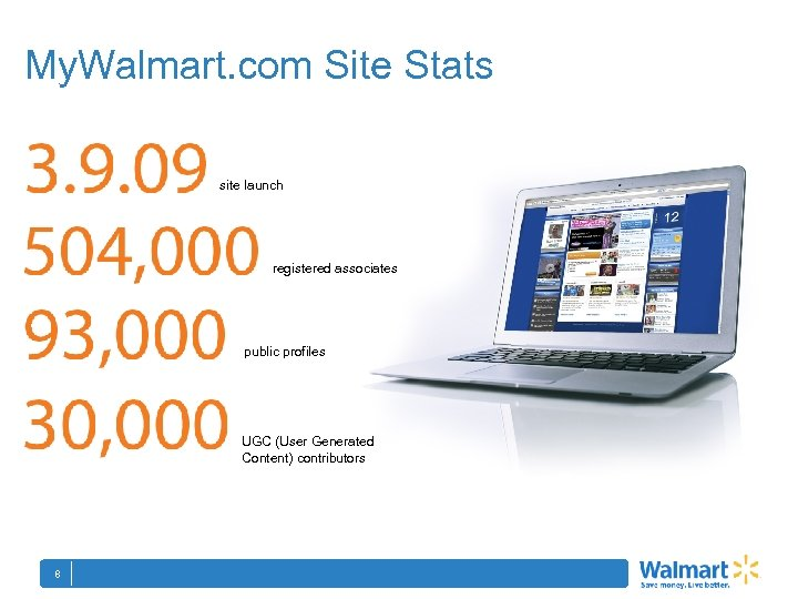 My. Walmart. com Site Stats site launch registered associates public profiles UGC (User Generated