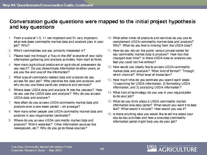 Step #4: Questionnaire/Conversation Guide, Continued Conversation guide questions were mapped to the initial project