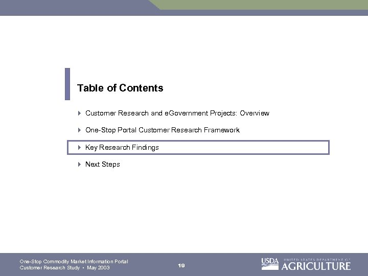 Table of Contents 4 Customer Research and e. Government Projects: Overview 4 One-Stop Portal