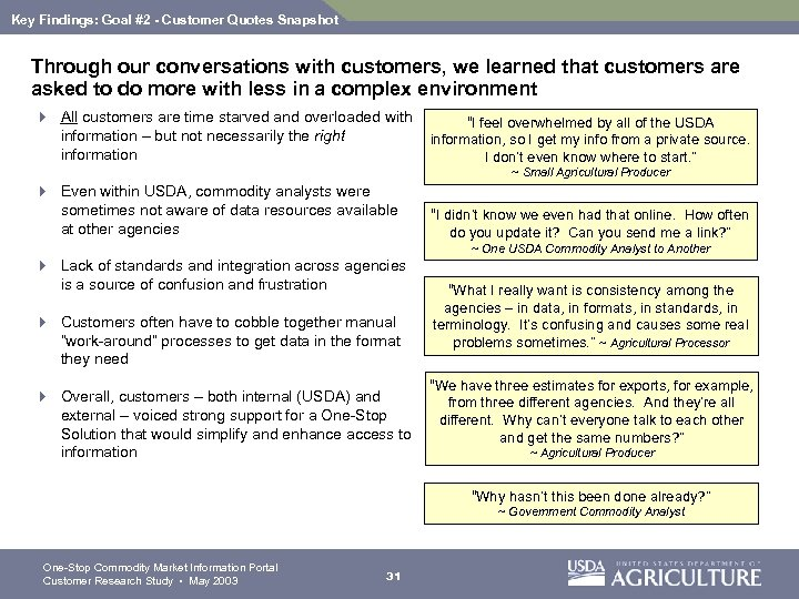Key Findings: Goal #2 - Customer Quotes Snapshot Through our conversations with customers, we