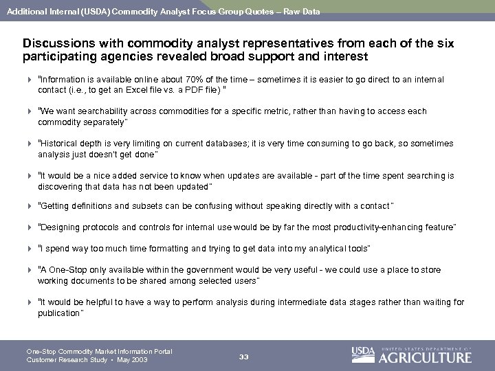 Additional Internal (USDA) Commodity Analyst Focus Group Quotes – Raw Data Discussions with commodity