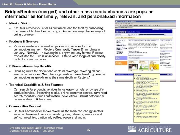 Goal #3: Press & Media – Mass Media Bridge/Reuters (merged) and other mass media
