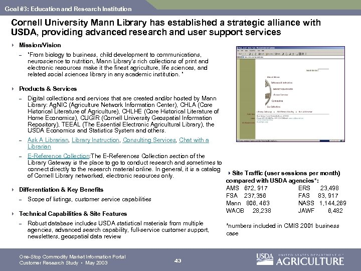 Goal #3: Education and Research Institution Cornell University Mann Library has established a strategic