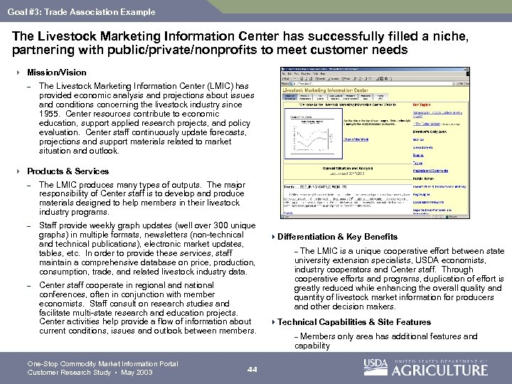 Goal #3: Trade Association Example The Livestock Marketing Information Center has successfully filled a