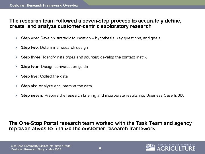 Customer Research Framework: Overview The research team followed a seven-step process to accurately define,