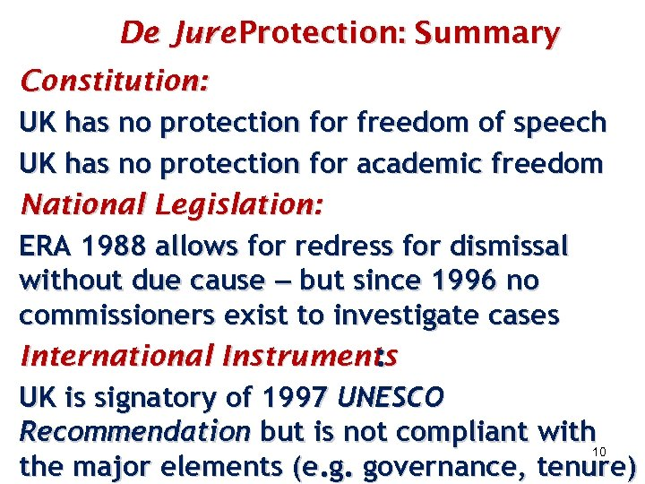 De Jure Protection: Summary Constitution: UK has no protection for freedom of speech UK