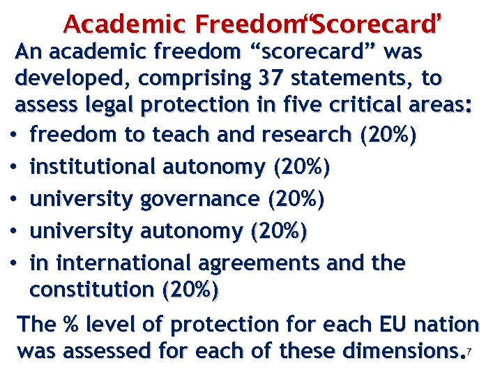 """Academic Freedom""""Scorecard """" An academic freedom """"scorecard"""" was developed, comprising 37 statements, to assess"""