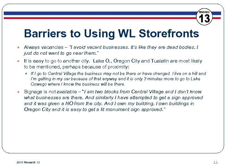 """Barriers to Using WL Storefronts Always vacancies – """"I avoid vacant businesses. It's like"""