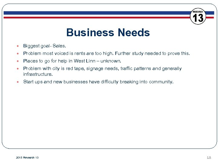 Business Needs Biggest goal- Sales. Problem most voiced is rents are too high. Further