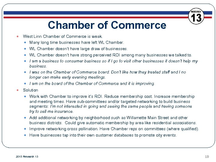 Chamber of Commerce West Linn Chamber of Commerce is weak. Many long time businesses