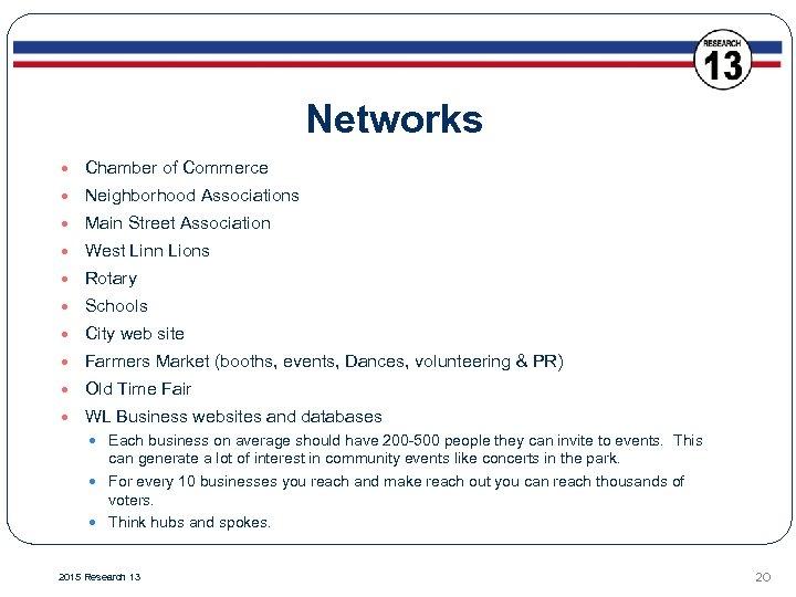 Networks Chamber of Commerce Neighborhood Associations Main Street Association West Linn Lions Rotary Schools