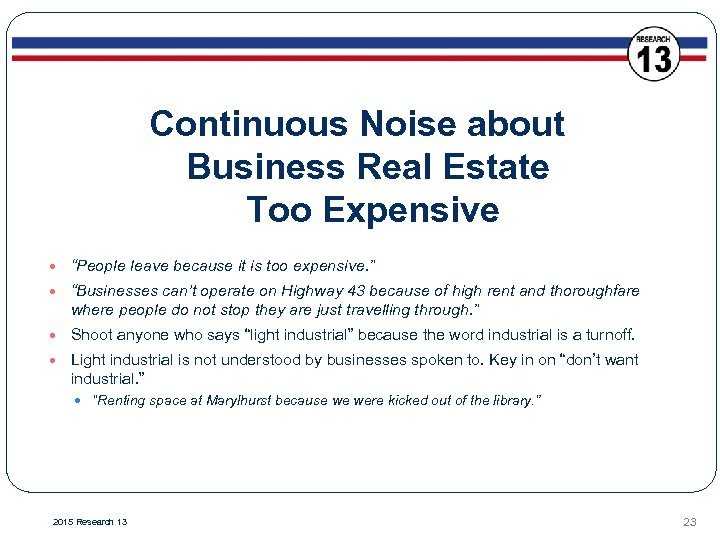 """Continuous Noise about Business Real Estate Too Expensive """"People leave because it is too"""