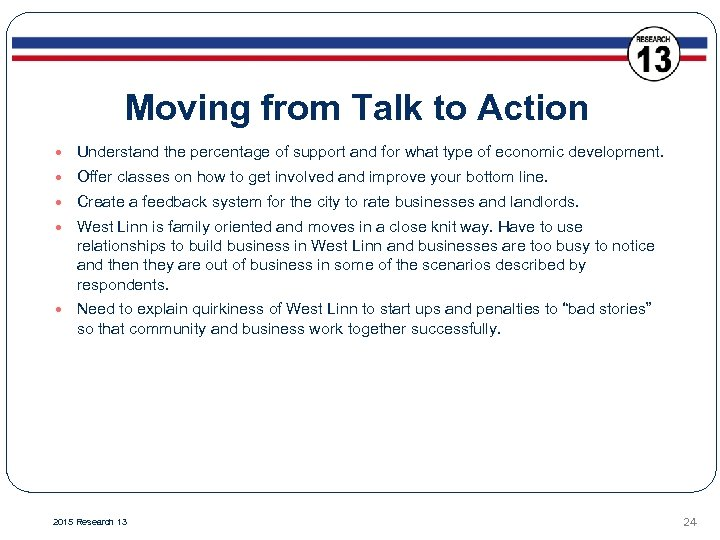 Moving from Talk to Action Understand the percentage of support and for what type