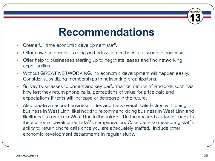 Recommendations Create full time economic development staff. Offer new businesses training and education on