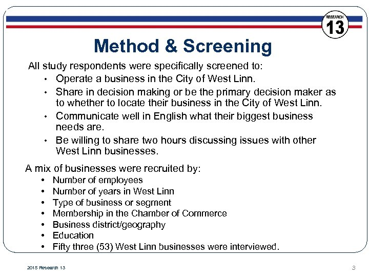 Method & Screening All study respondents were specifically screened to: • Operate a business
