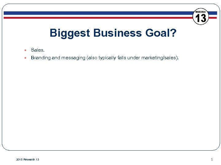 Biggest Business Goal? Sales. Branding and messaging (also typically falls under marketing/sales). 2015 Research