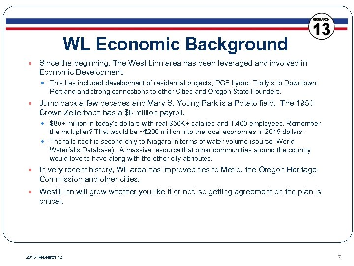WL Economic Background Since the beginning, The West Linn area has been leveraged and