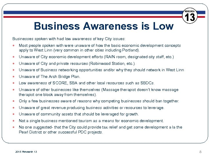 Business Awareness is Low Businesses spoken with had low awareness of key City issues: