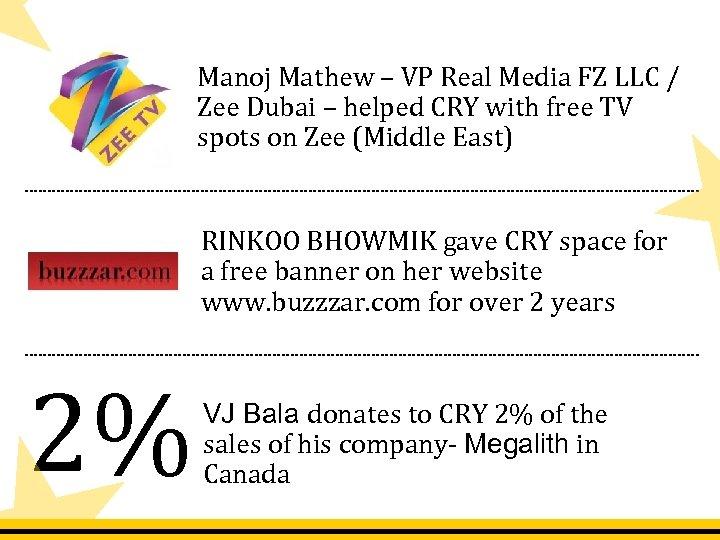 Manoj Mathew – VP Real Media FZ LLC / Zee Dubai – helped CRY