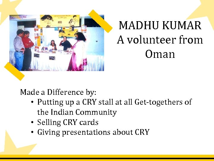 MADHU KUMAR A volunteer from Oman Made a Difference by: • Putting up a
