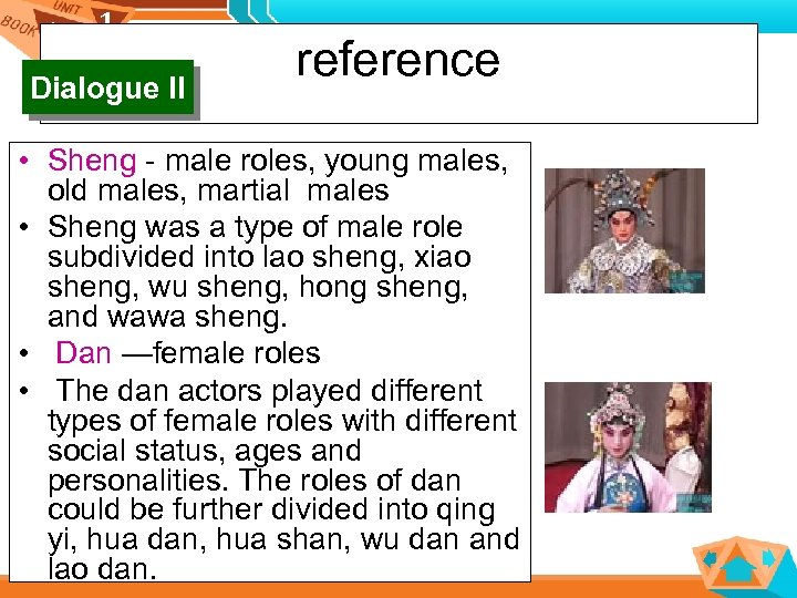 1 1 Dialogue II reference • Sheng - male roles, young males, old males,
