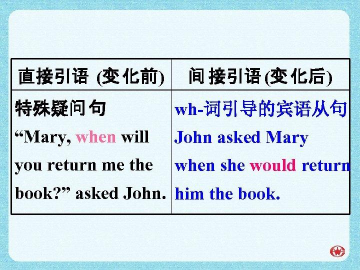 """直接引语 (变 化前) 间 接引语 (变 化后) 特殊疑问 句 wh-词引导的宾语从句 """"Mary, when will John"""