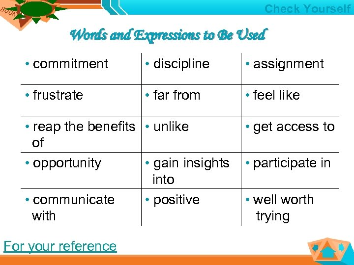 1 1 Check Yourself Words and Expressions to Be Used • commitment • discipline