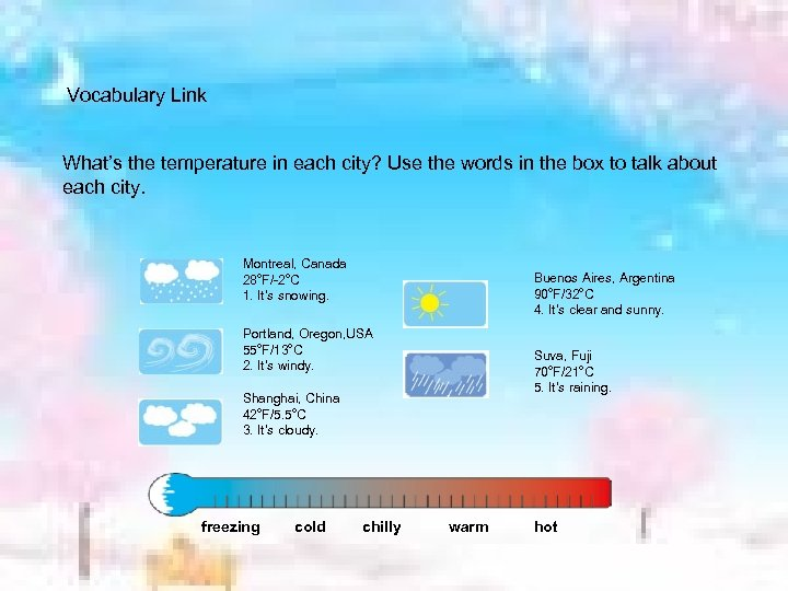 Vocabulary Link What's the temperature in each city? Use the words in the box