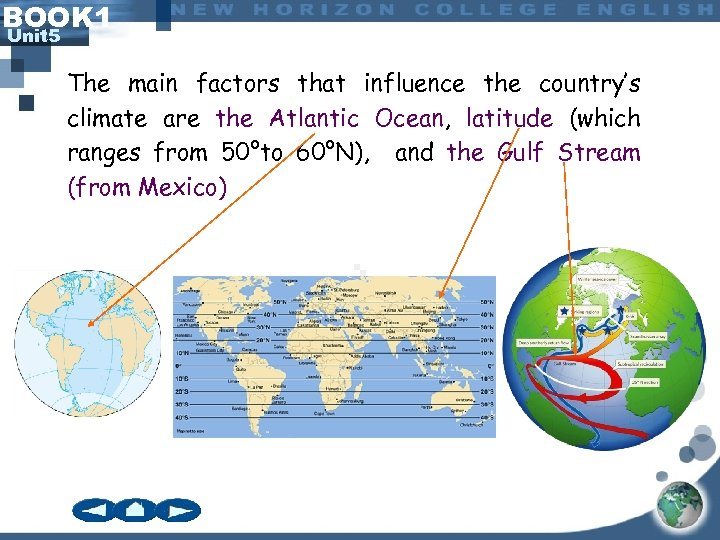 BOOK 1 Unit 5 The main factors that influence the country's climate are the