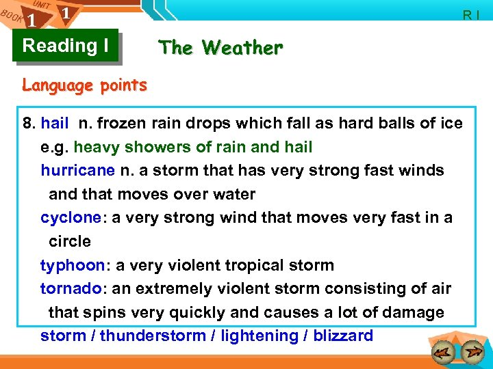 1 1 Reading I R I The Weather Language points 8. hail n. frozen