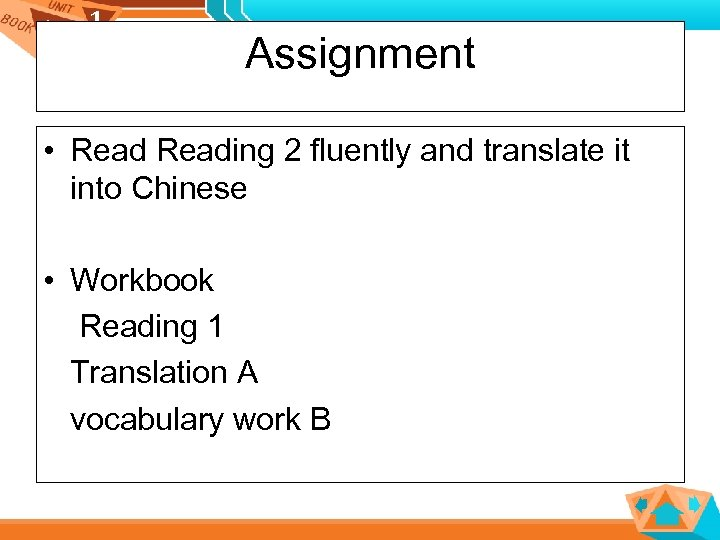 1 1 Assignment • Reading 2 fluently and translate it into Chinese • Workbook
