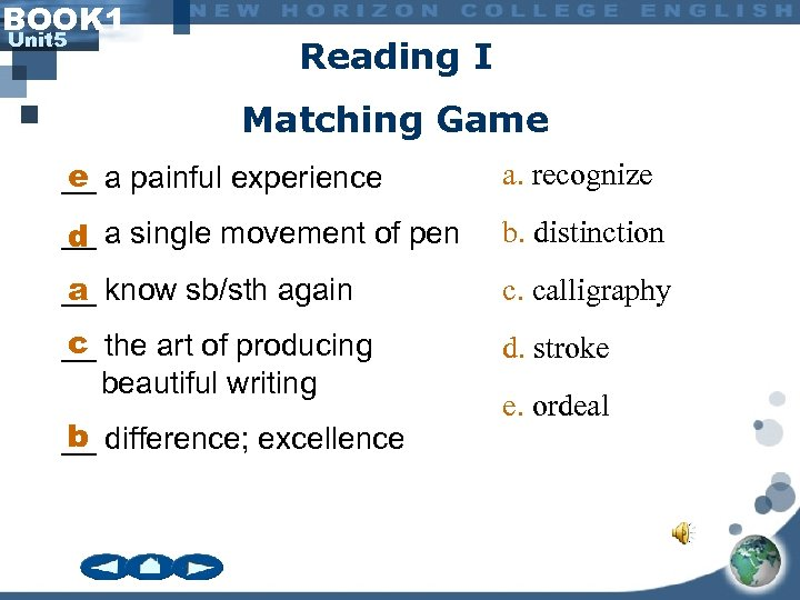 BOOK 1 Unit 5 Reading I Matching Game e __ a painful experience a.