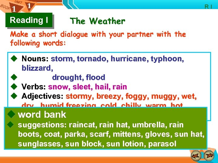 1 1 Reading I R I The Weather Make a short dialogue with your