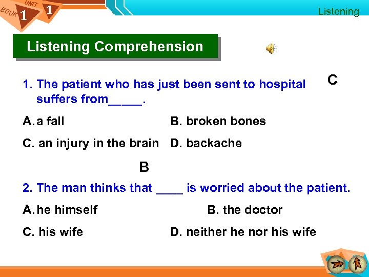 1 1 Listening Comprehension 1. The patient who has just been sent to hospital