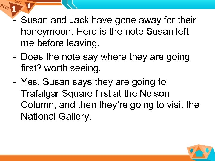 1 1 - Susan and Jack have gone away for their honeymoon. Here is