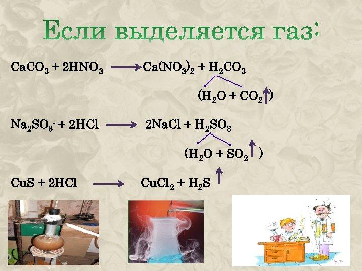Ca. CO 3 + 2 HNO 3 Na 2 SO 3 + 2 HCl
