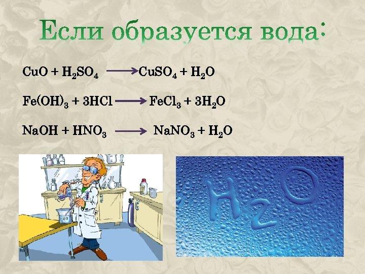 Cu. O + H 2 SO 4 Fe(OH)3 + 3 HCl Na. OH +