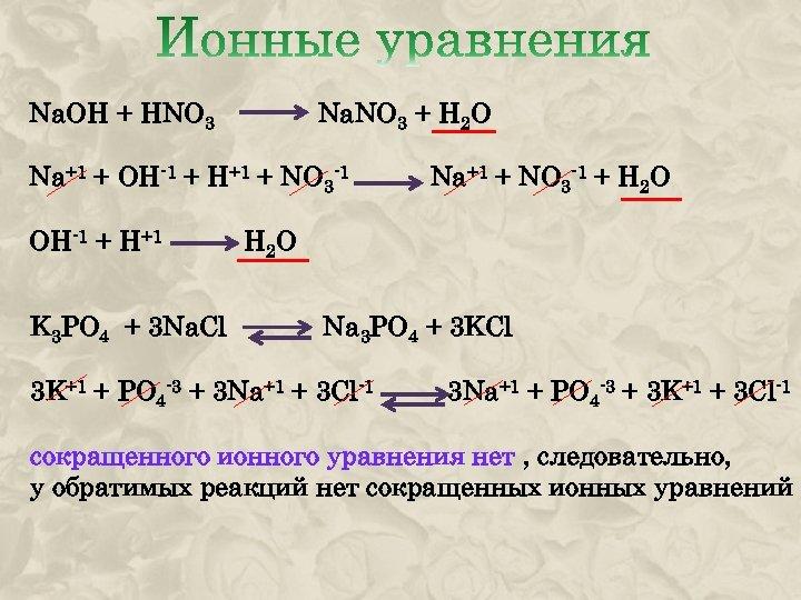 Na. OH + HNO 3 Na. NO 3 + H 2 O Na+1 +