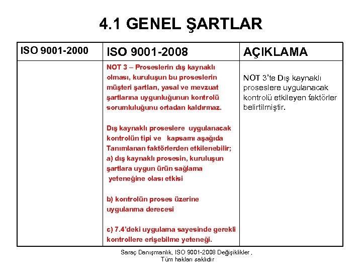 4. 1 GENEL ŞARTLAR ISO 9001 -2000 ISO 9001 -2008 AÇIKLAMA NOT 3 –