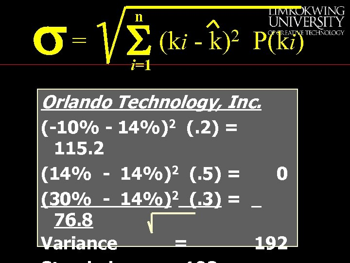 s= n S (ki - 2 k) P(ki) i=1 Orlando Technology, Inc. (-10% -