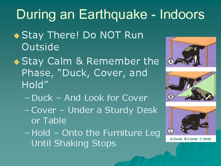 During an Earthquake - Indoors u Stay There! Do NOT Run Outside u Stay