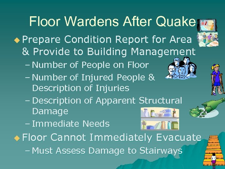 Floor Wardens After Quake u Prepare Condition Report for Area & Provide to Building