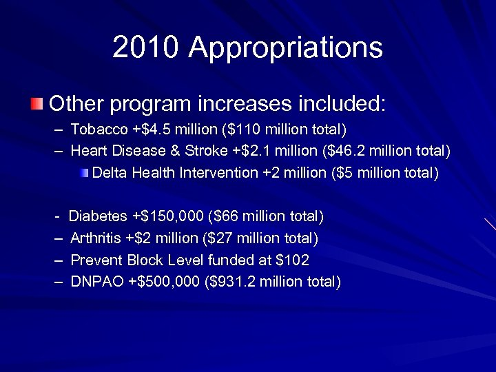 2010 Appropriations Other program increases included: – Tobacco +$4. 5 million ($110 million total)