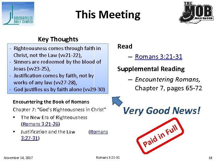This Meeting Key Thoughts - Righteousness comes through faith in Christ, not the Law