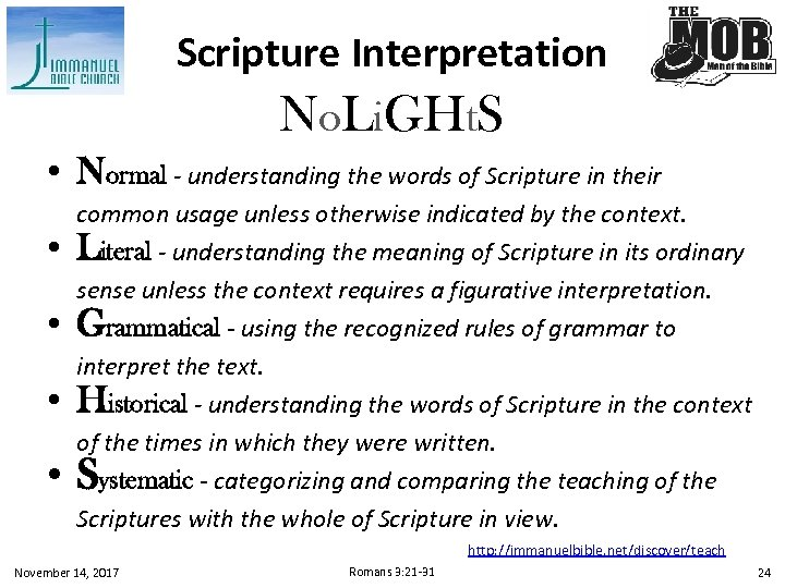 Scripture Interpretation No. Li. GHt. S • Normal - understanding the words of Scripture