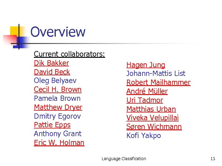 Overview Current collaborators: Dik Bakker David Beck Oleg Belyaev Cecil H. Brown Pamela Brown