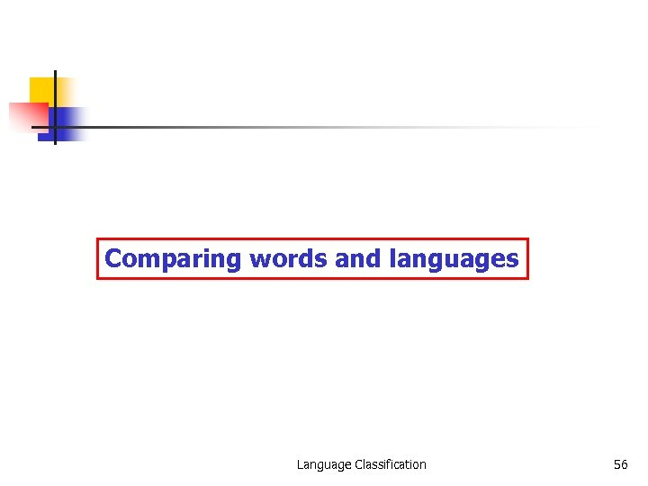 Comparing words and languages Language Classification 56