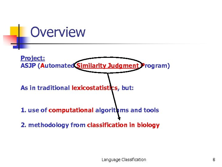 Overview Project: ASJP (Automated Similarity Judgment Program) As in traditional lexicostatistics, but: 1. use