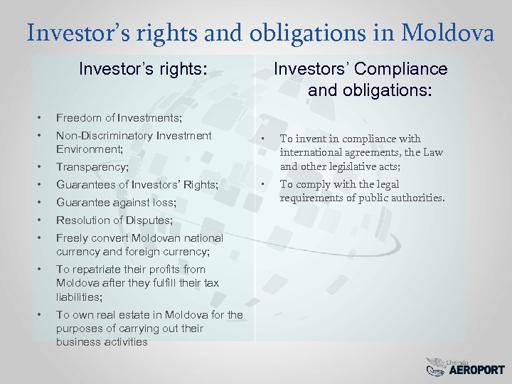 Investor's rights and obligations in Moldova Investor's rights: • Freedom of Investments; • Non-Discriminatory